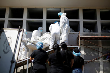 Forensic authorities take part in a mass burial of 28 bodies that were never claimed by their families at the morgue in Tegucigalpa