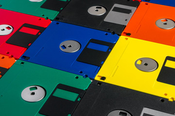 Vintage multi-colored floppy disks