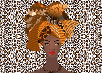 portrait of the young African woman in a colorful turban. Wrap Afro fashion, Ankara, Kente, kitenge, African women dresses. Nigerian style, Ghanaian fashion. Vector with leopard texture background