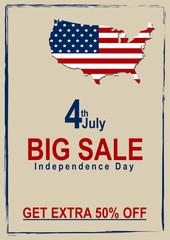 Vektor Sale Flyer mit Kartenausschnitt und amerikanischer Flagge. Eps 10 Vektor Datei