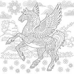 Pegasus Coloring Page. Greek mythological winged horse flying. Adult Coloring Book idea. Antistress freehand sketch drawing with doodle and zentangle elements.