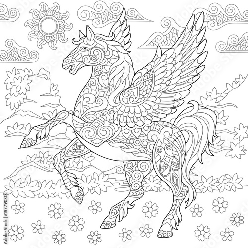 Pegasus Coloring Page. Greek mythological winged horse ...
