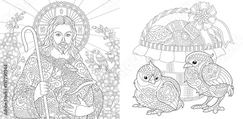 Coloring Page. Coloring Book. Jesus Christ with lamb on spring ...