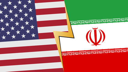 Usa and Iran financial, diplomatic crisis concept. vector illustration.