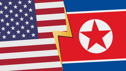 Usa and Nort Korea financial, diplomatic crisis concept. vector illustration.