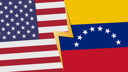 Usa and Venezuela financial, diplomatic crisis concept. vector illustration.