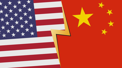 Usa and China financial, diplomatic crisis concept. vector illustration.