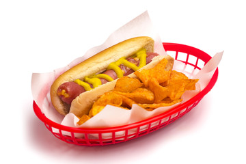 Hot Dog and Chips in a Red Basket on a White Background
