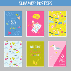 Childish Summer Beach Vacation Cards with Kids, Fish and Birds. Cute Backgrounds with Sea Creatures for Decor, Greetings, Postcards, Posters, Banners. Vector illustration