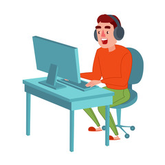 Happy Young Man with Headphones Playing Computer Game. Guy Gamer. Online Streaming. Vector illustration