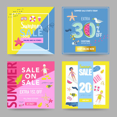 Summer Sale Banner Set with Beach Elements. Discount Poster Templates. Hand Drawn Promotional Design for Flyers, Covers, Placards. Vector illustration