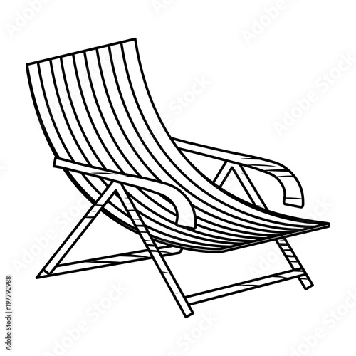 Sketch Of Beach Chair Icon Over White Background Vector