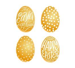 Set of golden eggs. Happy Easter and easter hunt lettering in egg. Vector isolated handwritten Inscription. Brush pen modern style