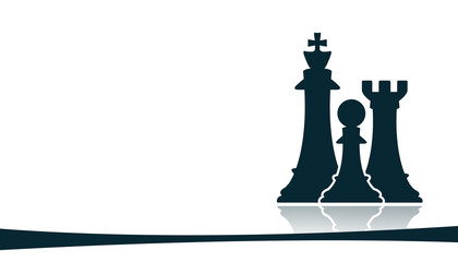 chess figures on white background