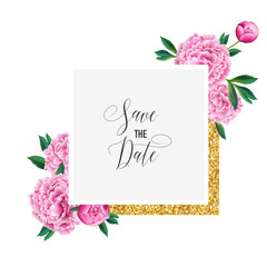 Floral Wedding Invitation. Save the Date Card with Blooming Pink Peony Flowers and Golden Frame. Romantic Botanical Design for Ceremony Decoration. Vector illustration