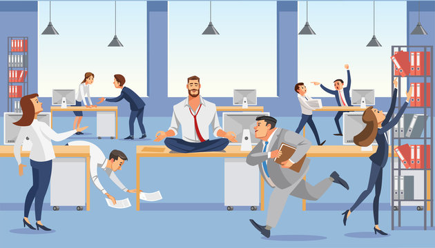 Business man sit on table in office. Calm in meditation relax. Stressed vector cartoon characters.