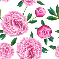 Floral Seamless Pattern with Pink Peony Flowers. Spring Blooming Background for Fabric, Prints, Wedding Decoration, Invitation, Wallpapers. Vector illustration
