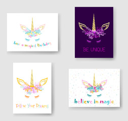 Unicorn horn in flowers and twigs wreath tiara illustration on Birthday cards set. Cartoon vector meme unicorn head with closed eyes, horn, flowers and quotes phrase text.