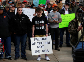 """Braxton Shewalter, 17, protests in """"March For Our Guns"""" rally at the state capitol in Helena, Montana"""