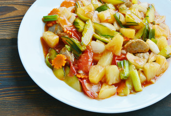 Colorful Fried Stir Sweet and sour sauce with Vegetable and Pork ball