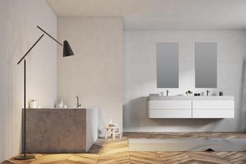 Luxury bathroom interior, white walls, close up