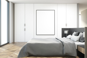 White bedroom interior, side view poster