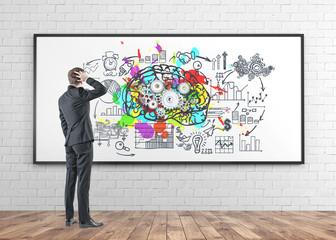 Confused businessman, rear view, brainstorm