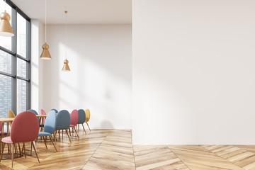 Modern loft cafe interior, mock up wall