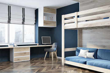 Dark blue wall home office, blue loft bed