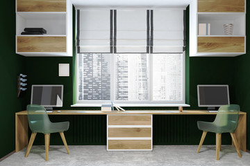 Black and wooden modern workplace, screens