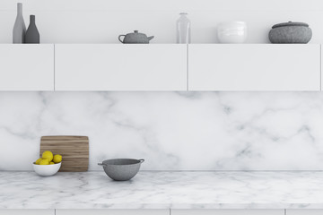 Marble kitchen, white counters close up