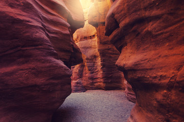 The Red Canyon. Geological attraction in the Eilat Mountains, Israel
