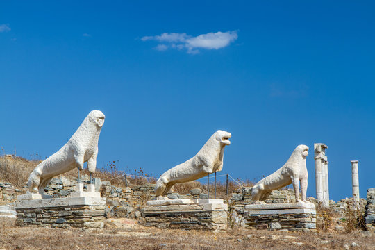 The Stone Lions on the Island of Delos, Greece Honoring Apollo