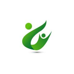 Wellness people logo design template