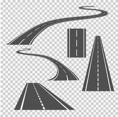 Winding curved road direction or highway with markings.