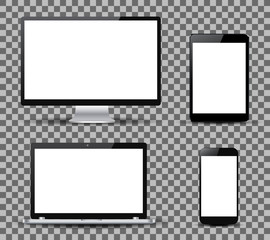 Set technology devices with white display - vector for stock