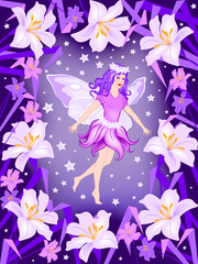 Flower fairy girl with butterfly wings. Handmade drawing vector illustration. Can be used for illustrations, posters, children's books etc.