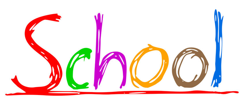 School colored text hand drawing – stock vector