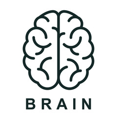 Human brain icon with neural bonds - stock vector
