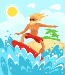 Happy smiling young macho man boy character is riding surfing. Holiday vacation relax summer time and sunny days sea water wave surfboard concept. Vector flat cartoon illustration