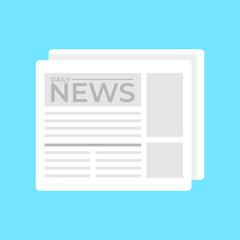 Daily newspaper isolated icon. Vector flat cartoon illustration