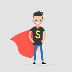 Superhero conceptual illustration. Young  character wearing a superhero cape / flat editable vector illustration, clip art