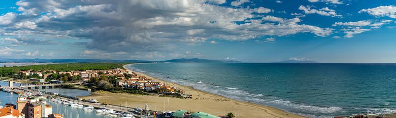 Editorial: 9th October 2017: Castiglione della Pescaia, Italy. Landscape seaside panoramic view.
