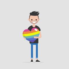 LGBTQ heart concept. Young smiling character holding a big rainbow heart. Declaration of love. Flat editable vector illustration, clip art