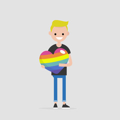LGBTQ heart concept. Young smiling character holding a big rainbow heart. Declaration of love. Flat editable vector illustration, clip art