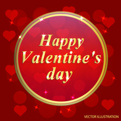 Valentines Day Design. Template of invitation, poster or greeting card. Vector illustration