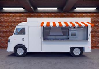 3D illustration of food truck  transportations,  truck,  trucks,  up,  van,  vehicle,  vintage,  white