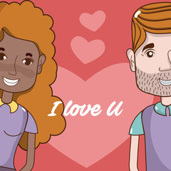 I love you card couple cartoon