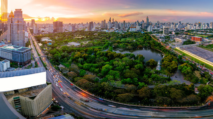 Wall Mural - Sunset scence of Bangkok skyline panorama