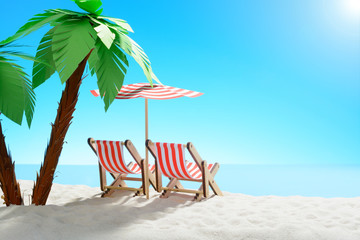 Two sun loungers under a palm tree on the sandy coast. Sky with copy space